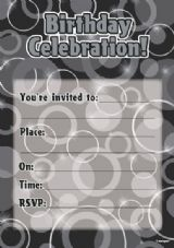 Black & Silver Glitz Birthday Invitations